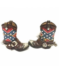 Texas Decor - Poly Rebel Flag Boot with Spur Brush Pot YC111884