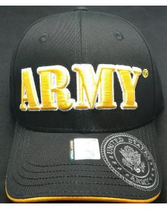 United States ARMY Hat w/Seal-A04ARM02 BK/GD (Large Yellow Text )