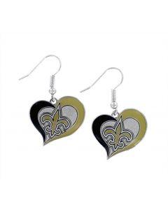 NFL New Orleans Saints Earrings Heart Swirl