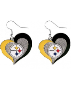 NFL Pittsburgh Steelers Heart Swirl Earrings