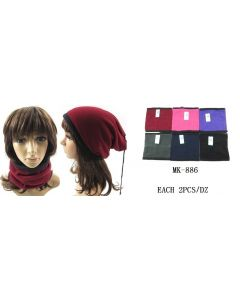 Neck Scarf - Reversible MK886 ASST./PLAIN SOLD BY DOZEN