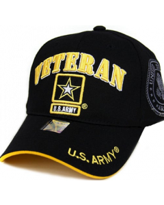 United States Army VETERAN Hat with Army Star Logo and Seal (Side) - A04ARV03 BK/YW