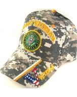 "United States Army Hat ""ARMY VETERAN"" Seal V/Flag on Bill-Camo CAP591BC"