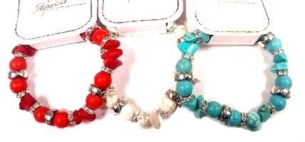 Fashion - JEWELRY -  Turquoise Bracelet BRC-4643 SOLD BY THE DOZEN